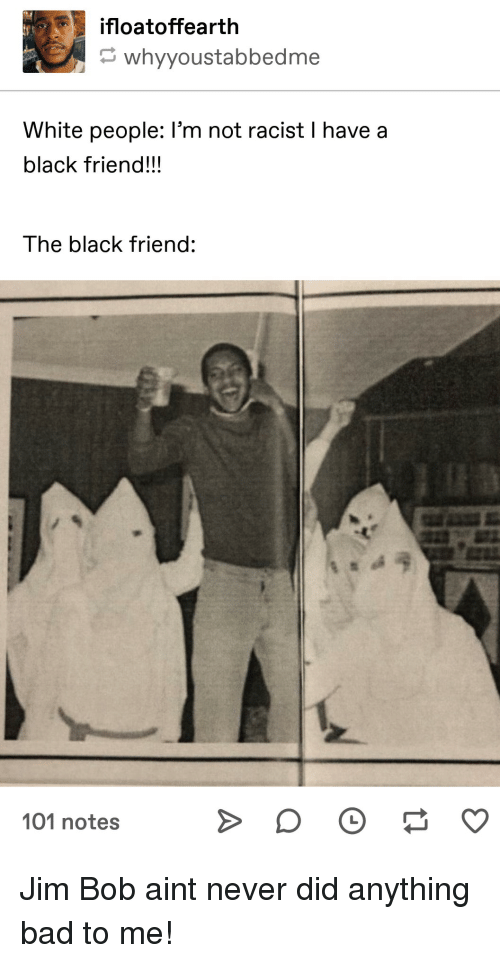 Not Racist: ifloatoffearth  whyyoustabbedme  White people: I'm not racist I have a  black friend!!!  The black friend:  101 notes Jim Bob aint never did anything bad to me!