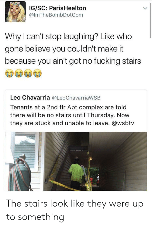 Complex, Fucking, and Wsbtv: IG/SC: ParisHeelton  @lmTheBombDotCom  Why I can't stop laughing? Like who  gone believe you couldn't make it  because you ain't got no fucking stairs  Leo Chavarria @LeoChavarriaWSB  Tenants at a 2nd flr Apt complex are told  there will be no stairs until Thursday. Now  they are stuck and unable to leave. @wsbtv The stairs look like they were up to something
