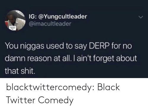 Comedy: IG: @Yungcultleader  @imacultleader  You niggas used to say DERP for no  damn reason at all. I ain't forget about  that shit. blacktwittercomedy:  Black Twitter Comedy