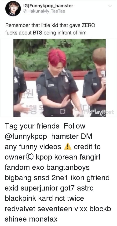Friends, Funny, and Memes: IGIFunnykpop hamster  @HakunaMy_TaeTae  Remember that little kid that gave ZERO  fucks about BTS being infront of him  ost 》Tag your friends 》》 Follow @funnykpop_hamster 》》》DM any funny videos ⚠ credit to owner© kpop korean fangirl fandom exo bangtanboys bigbang snsd 2ne1 ikon gfriend exid superjunior got7 astro blackpink kard nct twice redvelvet seventeen vixx blockb shinee monstax