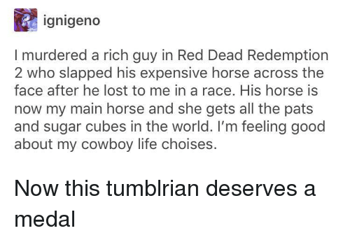 feeling good: ignigeno  I murdered a rich guy in Red Dead Redemption  2 who slapped his expensive horse across the  face after he lost to me in a race. His horse is  now my main horse and she gets all the pats  and sugar cubes in the world. I'm feeling good  about my cowboy life choises. Now this tumblrian deserves a medal