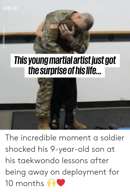 Deployment: Ihis young martial artistjustgolt  the surpriseof his life. The incredible moment a soldier shocked his 9-year-old son at his taekwondo lessons after being away on deployment for 10 months 🙌❤️️