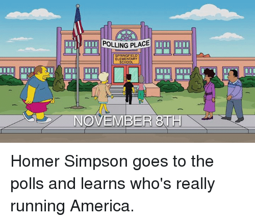 America, Dank, and Homer Simpson: III UIOOI POLLING PLACE  DOUU  SPRINGFIEL  ELEMENTARY  NOVEMBER Homer Simpson goes to the polls and learns who's really running America.