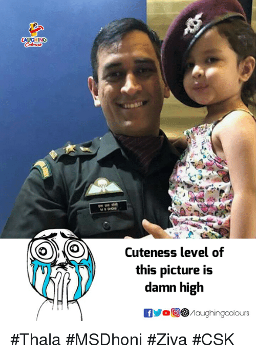 Indianpeoplefacebook, Picture, and Level: Il  Cuteness level of  this picture is  damn high  aughingcolours #Thala #MSDhoni #Ziva #CSK
