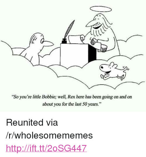 """Bobbie: il  """"So you're little Bobbie; well, Rex here has been going on and on  about you for the last 50 years."""" <p>Reunited via /r/wholesomememes <a href=""""http://ift.tt/2oSG447"""">http://ift.tt/2oSG447</a></p>"""