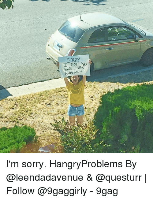 9gag, Hungry, and Memes: İl  SORRY  I GOT MAD  WHEN I WAS  HUNGRY/ I'm sorry. HangryProblems By @leendadavenue & @questurr | Follow @9gaggirly - 9gag