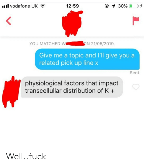 vodafone: il vodafone UK  12:59  YOU MATCHED WN 21/05/2019.  Give me a topic and I'll give you a  related pick up line x  Sent  physiological factors that impact  transcellullar distribution of K+ Well..fuck