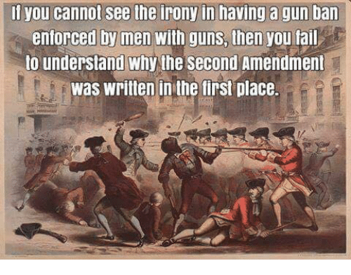 Guns, Memes, and Irony: il you cannot see the irony in having a gun ban  entorced by men with guns, then you tail  to understand why the second Amendment  was written in the tirst place.