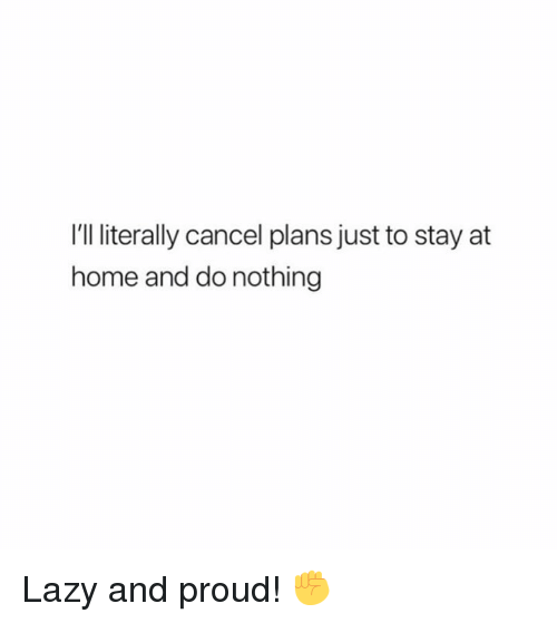 Lazy, Memes, and Home: I'll literally cancel plans just to stay at  home and do nothing Lazy and proud! ✊
