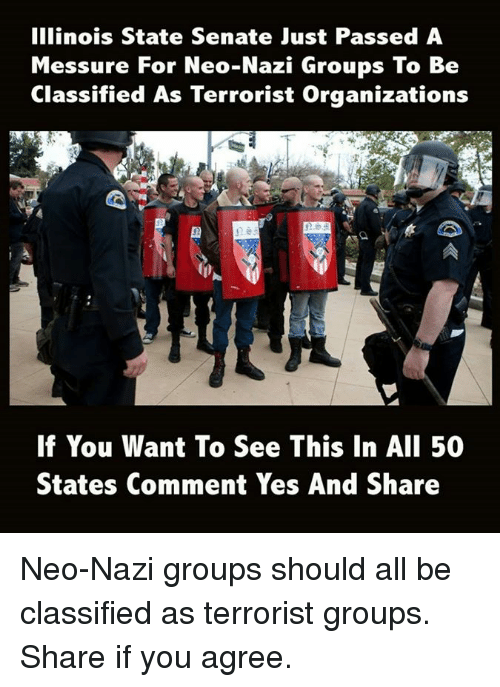 Sharee: Illinois State Senate Just Passed A  Messure For Neo-Nazi Groups To Be  Classified As Terrorist Organizations  E5D  If You Want To See This In AlI 50  States Comment Yes And Share Neo-Nazi groups should all be classified as terrorist groups.  Share if you agree.