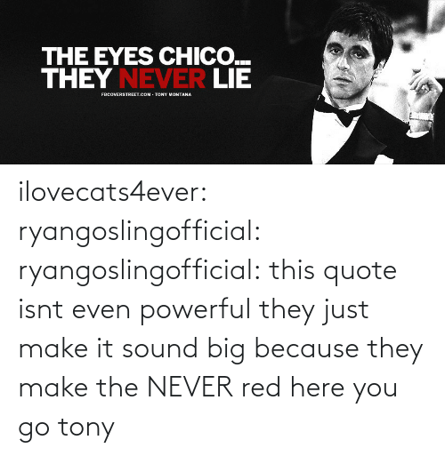 Make The: ilovecats4ever: ryangoslingofficial:  ryangoslingofficial: this quote isnt even powerful they just make it sound big because they make the NEVER red  here you go tony
