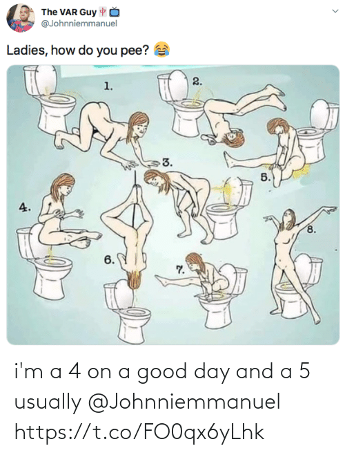 usually: i'm a 4 on a good day and a 5 usually @Johnniemmanuel https://t.co/FO0qx6yLhk