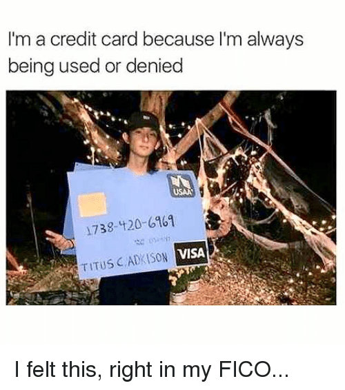 Memes, 🤖, and Visa: I'm a credit card because I'm always  being used or denied  738-t20-6161  TITUS ADKISO  N VISA I felt this, right in my FICO...