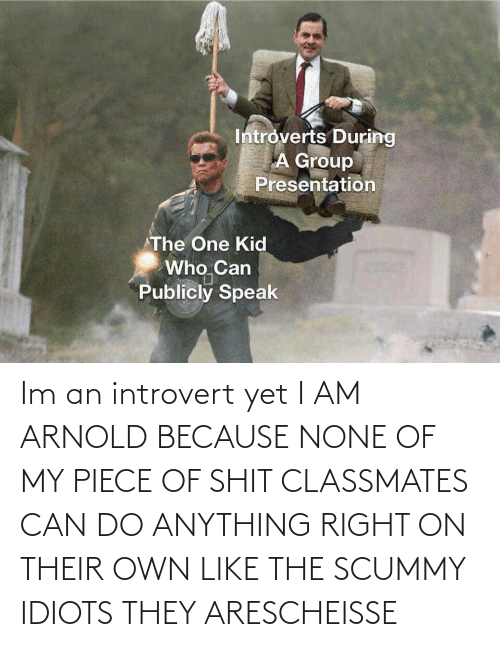 introvert: Im an introvert yet I AM ARNOLD BECAUSE NONE OF MY PIECE OF SHIT CLASSMATES CAN DO ANYTHING RIGHT ON THEIR OWN LIKE THE SCUMMY IDIOTS THEY ARESCHEISSE