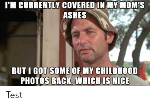 Covered: I'M CURRENTLY COVERED IN MY MOM'S  ASHES  BUT I GOT SOME OF MY CHILDHOOD  PHOTOS BACK, WHICH IS NICE  made on imgur Test