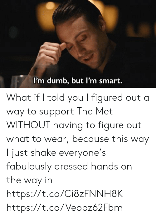 Dumb, Memes, and 🤖: I'm dumb, but I'm smart. What if I told you I figured out a way to support The Met WITHOUT having to figure out what to wear, because this way I just shake everyone's fabulously dressed hands on the way in https://t.co/Ci8zFNNH8K https://t.co/Veopz62Fbm