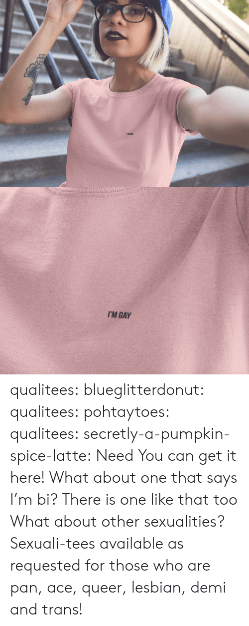 Sexualities: I'M GAY   I'M GAY qualitees:  blueglitterdonut:  qualitees:   pohtaytoes:  qualitees:   secretly-a-pumpkin-spice-latte: Need You can get it here!   What about one that says I'm bi?  There is one like that too   What about other sexualities?  Sexuali-tees available as requested for those who are pan, ace,queer,lesbian, demi and trans!