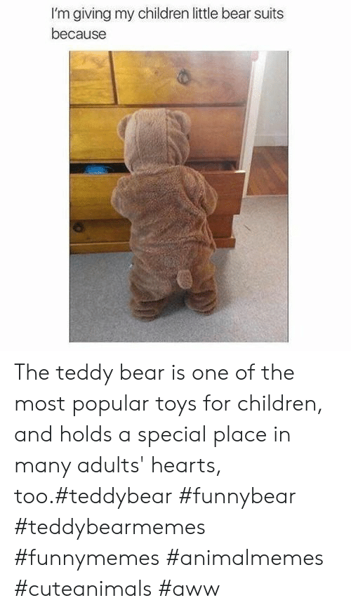 Teddy: I'm giving my children little bear suits  because The teddy bear is one of the most popular toys for children, and holds a special place in many adults' hearts, too.#teddybear #funnybear #teddybearmemes #funnymemes #animalmemes #cuteanimals #aww