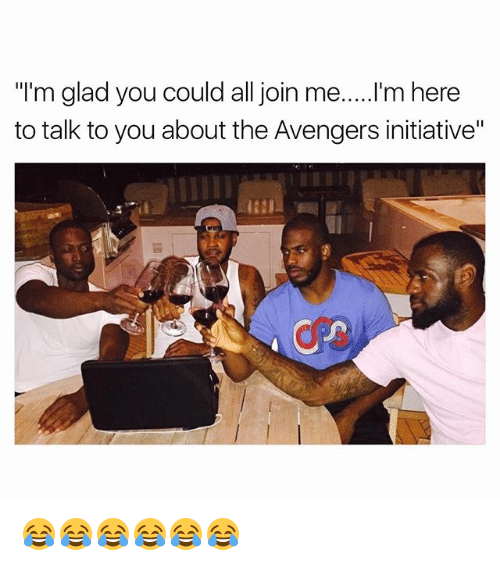 "Funny, Avengers, and join.me: ""I'm glad you could all join me.....I'm here  to talk to you about the Avengers initiative"" 😂😂😂😂😂😂"