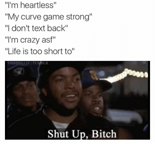 """shut up bitch: """"I'm heartless""""  """"My curve game strong""""  """"I don't text back""""  """"I'm crazy asf""""  """"Life is too short to  Shut Up, Bitch"""