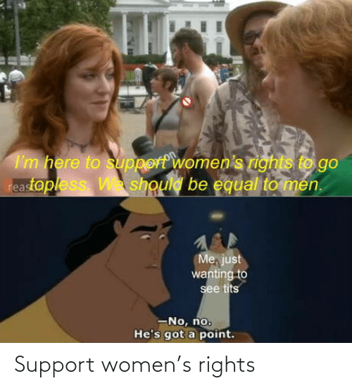 Rights: I'm here to support women's rights to go  reastopless W should be equal to men.  Me, just  wanting to  see tits  -No, no.  He's got a point. Support women's rights