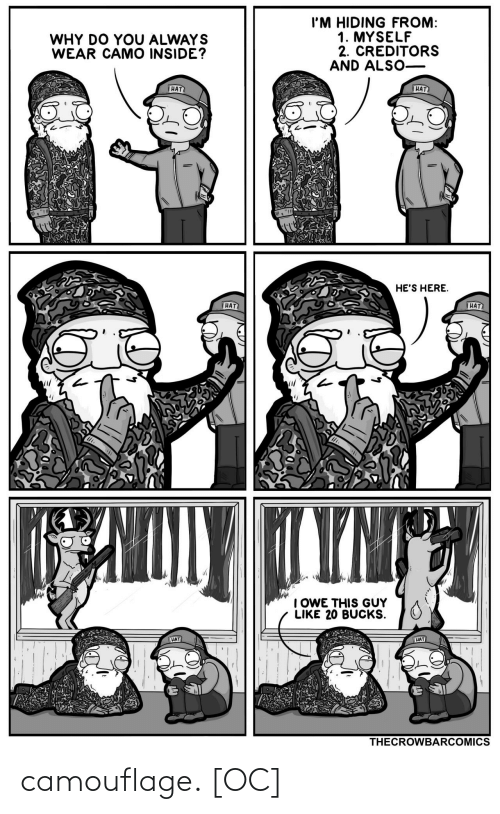 inside: I'M HIDING FROM:  1. MYSELF  2. CREDITORS  AND ALSO-  WHY DO YOU ALWAYS  WEAR CAMO INSIDE?  HAT  HAT  HE'S HERE.  HAT  HAT  TYNT  I OWE THIS GUY  LIKE 20 BUCKS.  HAT  HAT  THECROWBARCOMICS camouflage. [OC]
