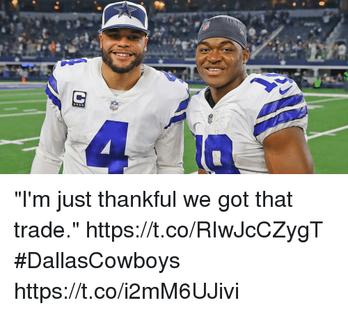 "Memes, 🤖, and Got: ""I'm just thankful we got that trade."" https://t.co/RIwJcCZygT #DallasCowboys https://t.co/i2mM6UJivi"
