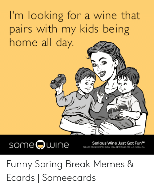 Funny Spring Memes: I'm looking for a wine that  pairs with my kids being  home all day.  someOwine  Serious Wine Just Got FunT  PLEASE DRINK RESPONSELY  026 BEVERAGE COLLC, NAPA, CA Funny Spring Break Memes & Ecards   Someecards