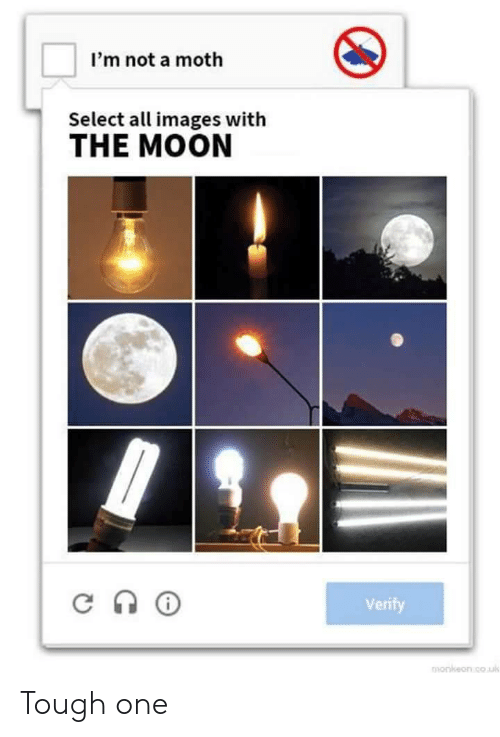 Images, Moon, and Tough: I'm not a moth  Select a images with  THE MOON  Verify  monkeon cou Tough one