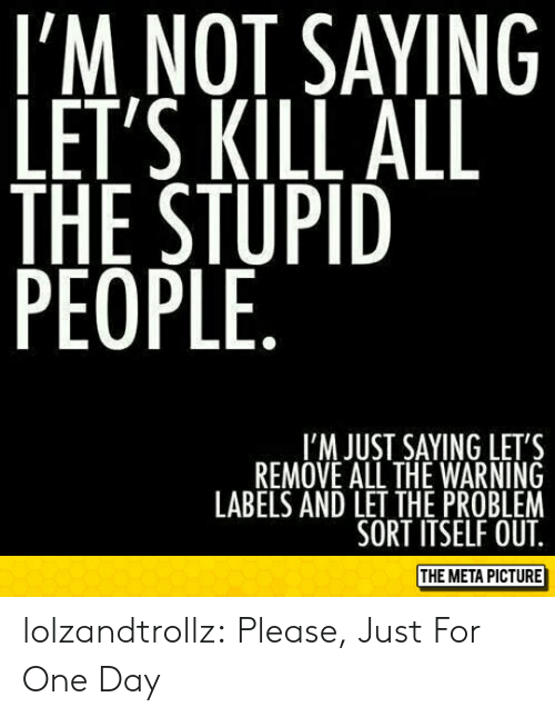 The Stupid: I'M NOT SAYING  LET'S KILL ALL  THE STUPID  PEOPLE  I'M JUST SAYING LET'S  REMOVE ALL THE WARNING  LABELS AND LET THE PROBLEM  SORT ITSELF OUT  THE META PICTURE lolzandtrollz:  Please, Just For One Day