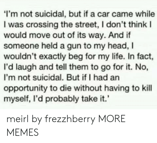 Dank, Head, and Life: I'm not suicidal, but if a car came while  I was crossing the street, I don't think I  would move out of its way. And if  someone held a gun to my head, I  wouldn't exactly beg for my life. In fact,  I'd laugh and tell them to go for it. No,  I'm not suicidal. But ifI had an  opportunity to die without having to kill  myself, I'd probably take it.' meirl by frezzhberry MORE MEMES