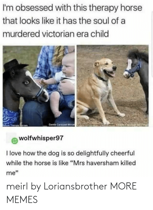 "child: I'm obsessed with this therapy horse  that looks like it has the soul of a  murdered victorian era child  Gende Carousal Minia  wolfwhisper97  I love how the dog is so delightfully cheerful  while the horse is like ""Mrs haversham killed  me"" meirl by Loriansbrother MORE MEMES"