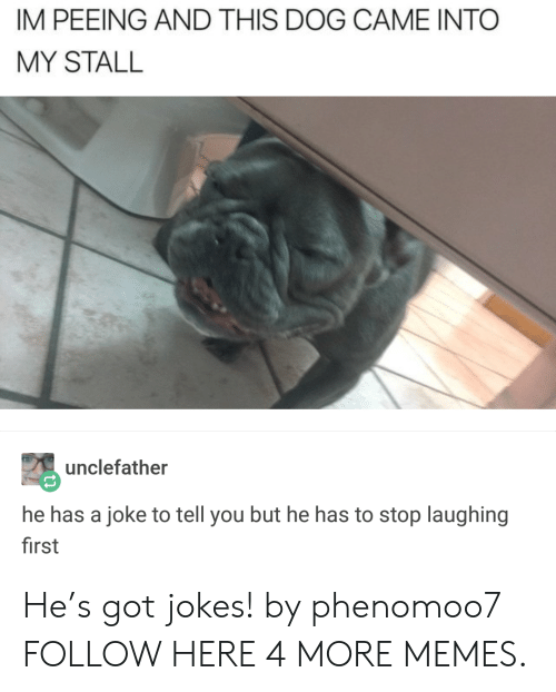 Dank, Memes, and Target: IM PEEING AND THIS DOG CAME INTO  MY STALL  unclefather  he has a joke to tell you but he has to stop laughing  first He's got jokes! by phenomoo7 FOLLOW HERE 4 MORE MEMES.