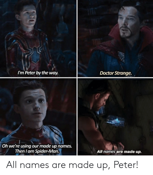 Doctor, Marvel Comics, and Spider: I'm Peter by the way  Doctor Strange  Oh we're using our made up names.  Then I am Spider-Man  All names are made up All names are made up, Peter!