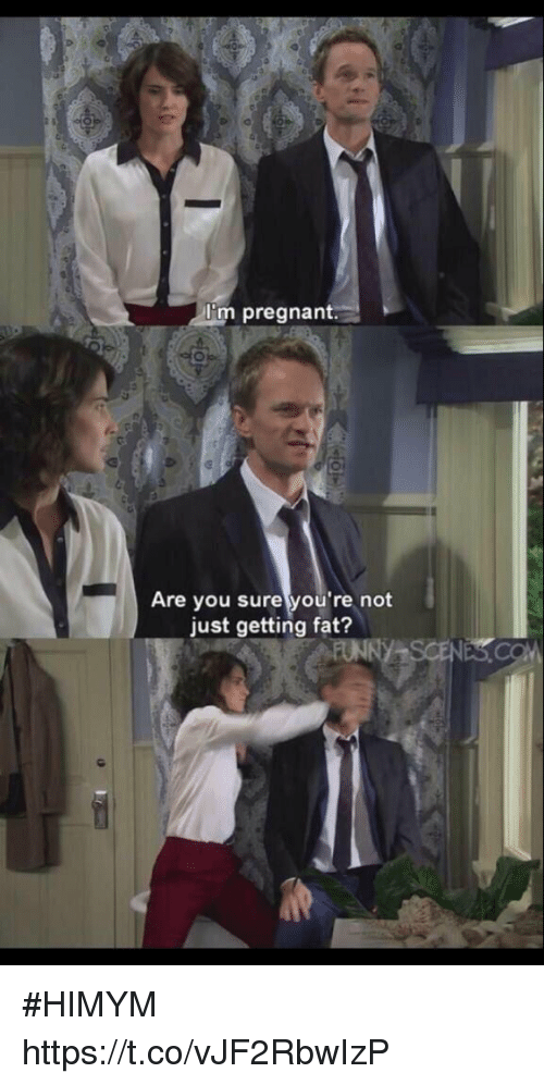 Memes, Pregnant, and Fat: I'm pregnant.  Are you sure you're not  just getting fat? #HIMYM https://t.co/vJF2RbwIzP
