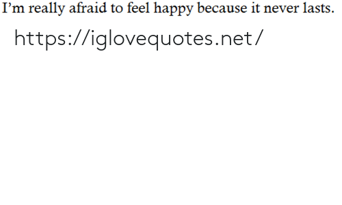 Happy, Never, and Net: I'm really afraid to feel happy because it never lasts. https://iglovequotes.net/