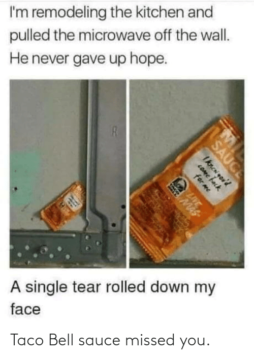 A Single: I'm remodeling the kitchen and  pulled the microwave off the wall.  He never gave up hope.  A single tear rolled down my  face  SAUCE  Iknen you'd  COme fack  for me  LIVE  MAS Taco Bell sauce missed you.