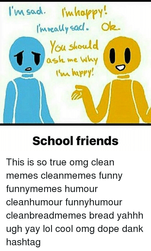 Clean Memes: I'm sad whappy  You should  ash me wh  School friends This is so true omg clean memes cleanmemes funny funnymemes humour cleanhumour funnyhumour cleanbreadmemes bread yahhh ugh yay lol cool omg dope dank hashtag