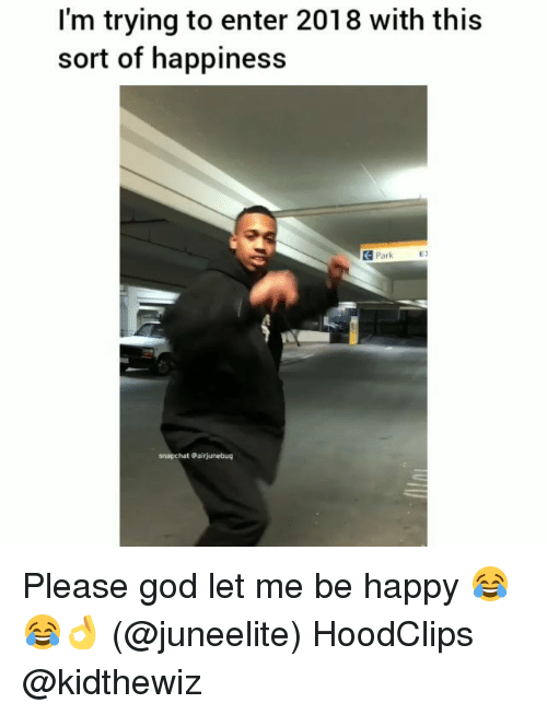 Funny, God, and Snapchat: I'm trying to enter 2018 with this  sort of happiness  데 Park  ES  snapchat Gairjunebug Please god let me be happy 😂😂👌 (@juneelite) HoodClips @kidthewiz