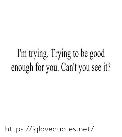 Im Trying: I'm trying. Trying to be good  enough for you. Can't you see it? https://iglovequotes.net/