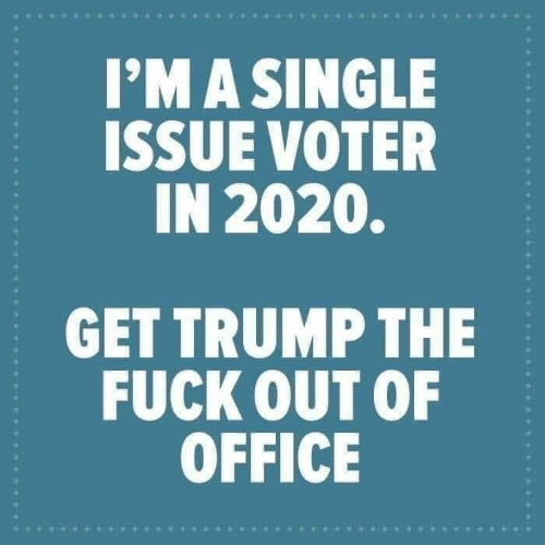 Fuck, Office, and Trump: I'MA SINGLE  ISSUE VOTER  IN 2020.  GET TRUMP THE  FUCK OUT OF  OFFICE