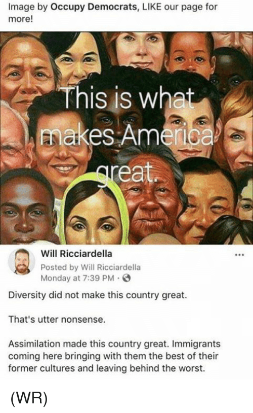 Occupy Democrats: Image by Occupy Democrats, LIKE our page for  more!  This is wha  makes Amerioa  Will Ricciardella  Posted by Will Ricciardella  Monday at 7:39 PM  Diversity did not make this country great.  That's utter nonsense.  Assimilation made this country great. Immigrants  coming here bringing with them the best of their  former cultures and leaving behind the worst. (WR)