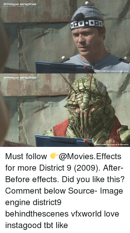 Rigness: image engine  T9  2009 Tristar Pictures, Inc. All rig  reserved  imagge engine  9 02009 TriSlar Pictures, Inc. NI rights reservecd Must follow 👉@Movies.Effects for more District 9 (2009). After-Before effects. Did you like this? Comment below Source- Image engine district9 behindthescenes vfxworld love instagood tbt like