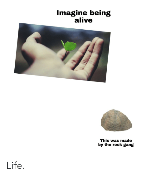 rock: Imagine being  alive  This was made  by the rock gang Life.