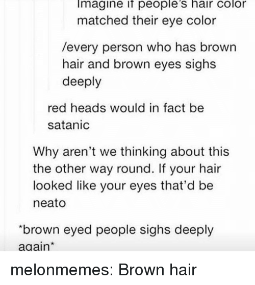 "hair color: Imagine if people's hair color  matched their eye color  /every person who has brown  hair and brown eyes sighs  deeply  red heads would in fact be  satanic  Why aren't we thinking about this  the other way round. If your hair  looked like your eyes that'd be  neato  ""brown eyed people sighs deeply  again melonmemes:  Brown hair"