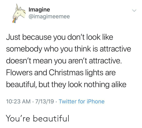 alike: Imagine  @imagimeemee  Just because you don't look like  somebody who you think is attractive  doesn't mean you aren't attractive.  Flowers and Christmas lights are  beautiful, but they look nothing alike  10:23 AM 7/13/19 Twitter for iPhone You're beautiful