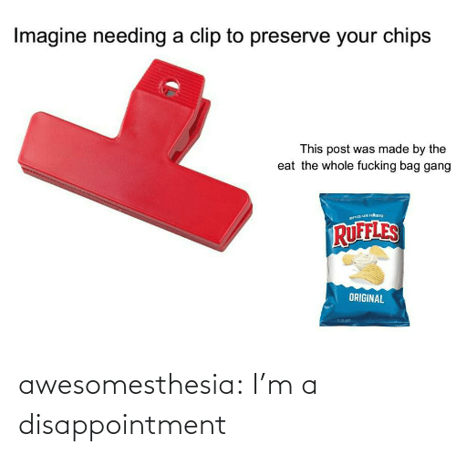 chips: Imagine needing a clip to preserve your chips  This post was made by the  eat the whole fucking bag gang  RUFFLES  ORIGINAL awesomesthesia:  I'm a disappointment