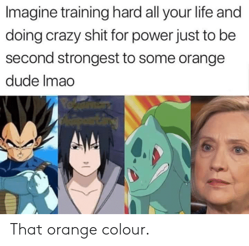 Colour: Imagine training hard all your life and  doing crazy shit for power just to be  second strongest to some orange  dude Imao That orange colour.