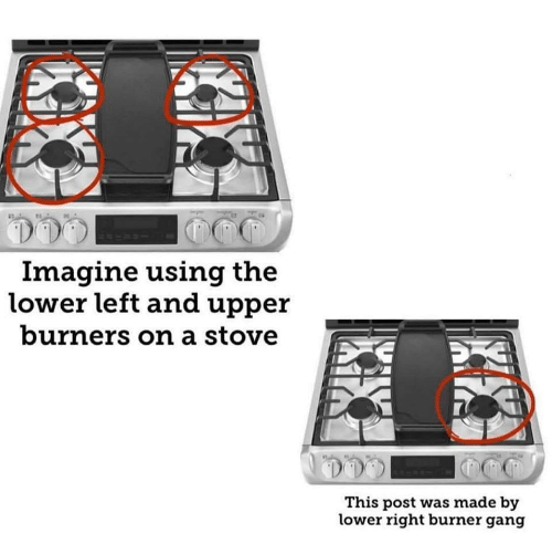 Gang, Imagine, and Post: Imagine using the  lower left and upper  burners on a stove  This post was made by  lower right burner gang