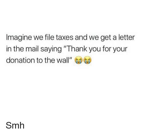 "Funny, Smh, and Taxes: Imagine we file taxes and we get a letter  in the mail saying ""Thank you for your  donation to the wall"" Smh"